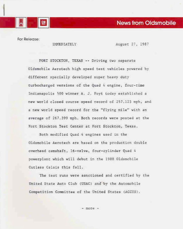 1987 Oldsmobile Aerotech Press Release