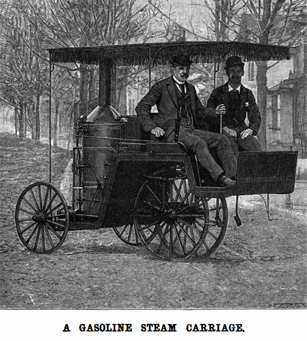 Olds Gasoline Steam Powered Carriage from Scientific American in 1892