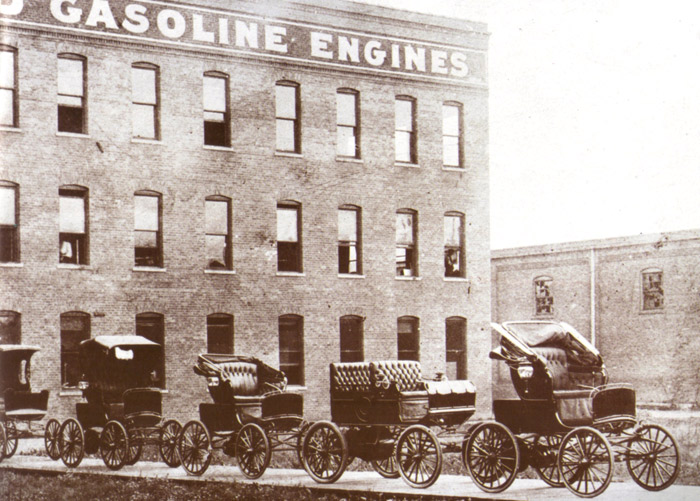 Olds gasoline and electric automobiles readied for the 1901 New York Auto Show